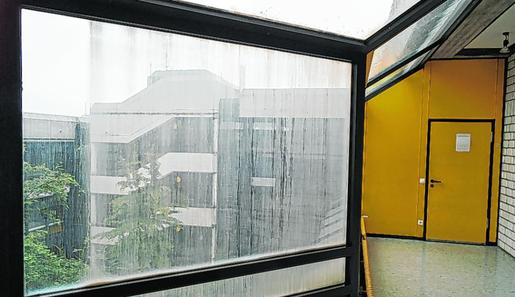 An der Fenstern fehlt der Durchblick und die naturwissenschaftlichen Räume müssen ebenfalls auf den neuesten Stand gebracht werden. Das Goethe Gymnasium soll grundlegend saniert werden. Foto: B. Zilkens