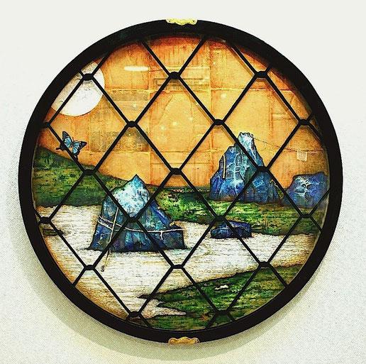 《澁谷蒼茶室枯山水之図(吉野窓)》