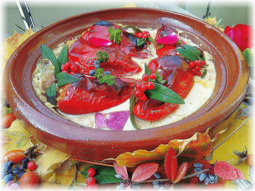 Jackfrucht gefüllte Paprika Tajjine