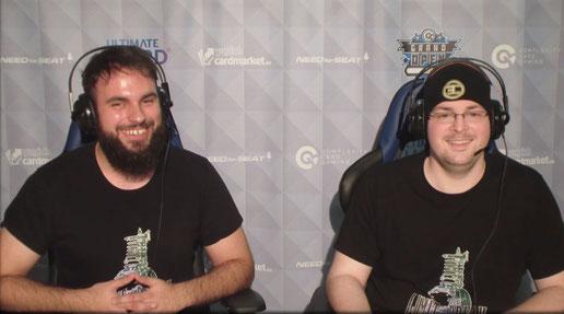 Bild aus dem Livestream, links der Gewinner Sascha und rechts Judge und Kommentator Steven