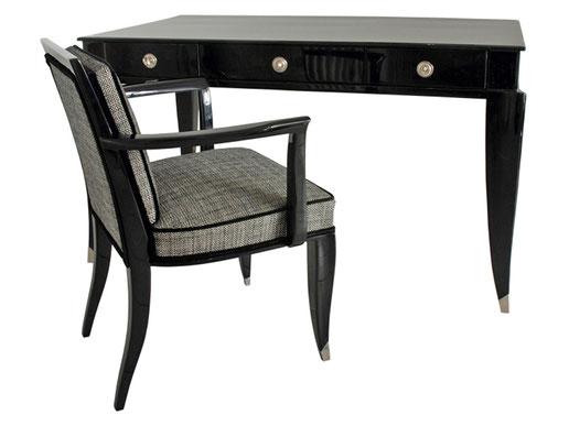 Ensemble: Art Deco Schreibtisch mit passendem Armlehnstuhl