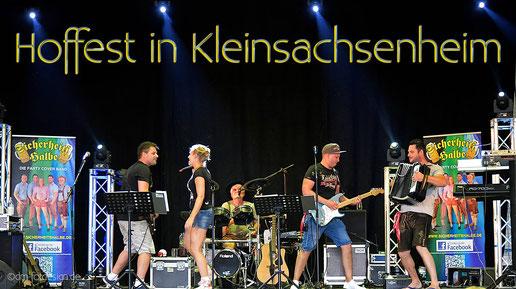 Partyband Sicherheitshalbe beim Hoffest Kleinsachsenheim am 09.06.2018, verlinkt zum Facebook - Fotoalbum