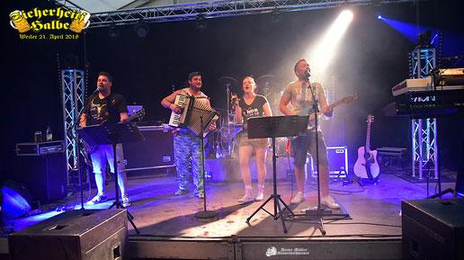 Partyband Sicherheitshalbe beim Weilerma Frühlingsfest am 21.04.2018, verlinkt zum Facebook - Fotoalbum