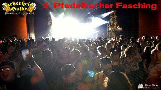 Partyband Sicherheitshalbe beim 2. Pfedelbacher Fasching am 10.02.2018, verlinkt zum Facebook - Fotoalbum