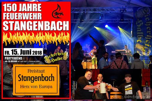 Partyband Sicherheitshalbe beim Jubiläum der Feuerwehr Stangenbach am 15.06.2018, verlinkt zum Facebook - Fotoalbum