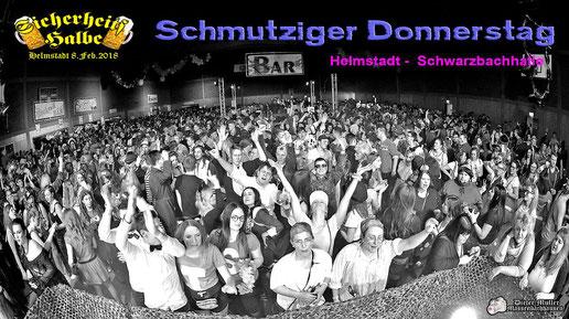 Partyband Sicherheitshalbe beim Schmutzigen Donnerstag in Helmstadt am 08.02.2018, verlinkt zum Facebook - Fotoalbum