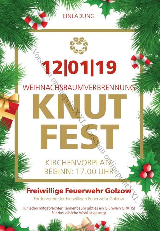 Flyer zum Knutfest - Weihnachtsbaumverbrennung in  Golzow (16230) im Landkreis Barnim in 2019