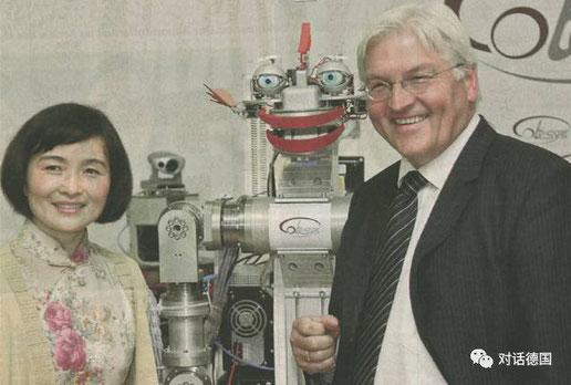 孟教授在TUM的机器人实验室接待Steinmeier先生