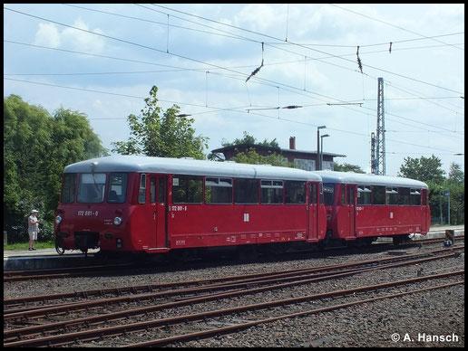 Auch während des Urlaubs schläft das Hobby nie wirklich. Am 24. Juli 2014 konnte ich im Bahnhof Warnemünde 172 001-0 und 172 601-7 festhalten