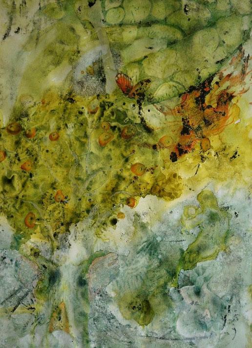 Schilderij: Aquarel met houtskool. Kleuren, zachte groenen, gelen en oranje/rode details. Een levensboom met appels, een grote slang, een vrouw met kind, uitgewerkt in kleurpotlood. Een levensboom....
