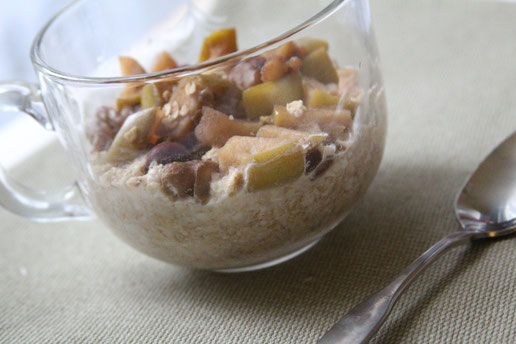 homemade healthy apple cinnamon walnut oatmeal.  quick healthy breakfast perfect for fall and winter.