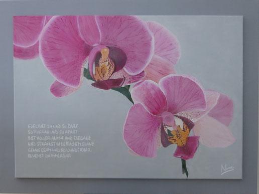 """Mit Spruch """"Elegant und zart"""", 70 x 50 cm, Acryl, CHF 980.--"""