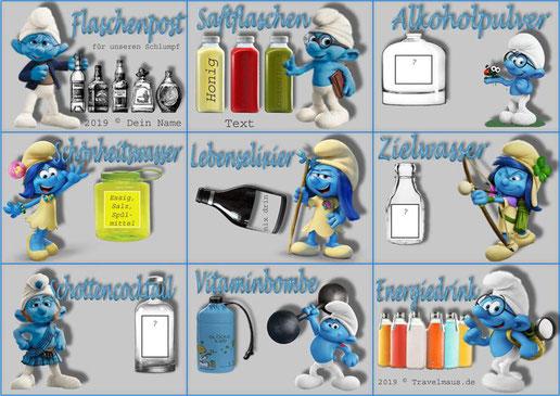 """Flaschenetiketten """"Schlumpf"""" am PC mit eigenen Texten ergänzen."""