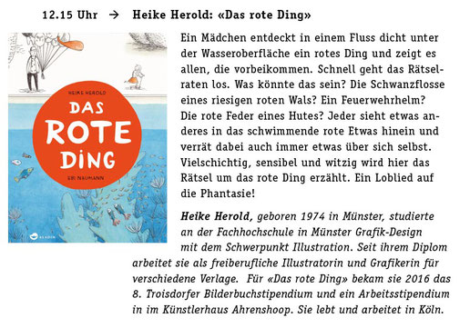 Heike Herold, Das Rote Ding, Aladin Verlag, Rot, Ebi Naumann, Troisdorfer Bilderbuchstipendium, Bilderbuchmuseum Troisdorf, Buch Basel, Kinderbuchfestival