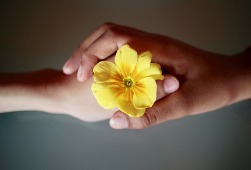 deux mains enlacées avec fleur au centre - accompagnement par l'hypnose