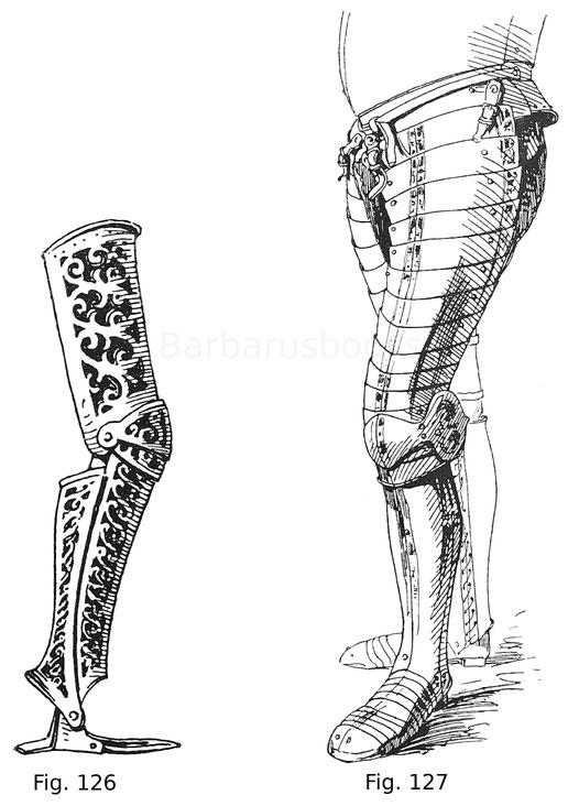 Durchbrochenes Beinzeug nach einem Modell in der Sammlung Poldi-Pezzoli in Mailand. Die Durchbrechungen sind für Samtunterlage berechnet, die Schuhe für Panzerung oder Leder. Italienisch um 1580.