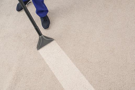 Teppichreinigung-mueden.de, Leistungen, Bild Teppichboden wird gereinigt