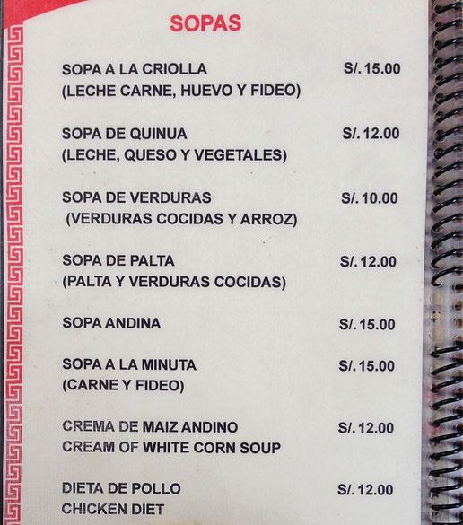 Und Suppen A la carte... Cusco, Peru (Foto Jörg Schwarz)