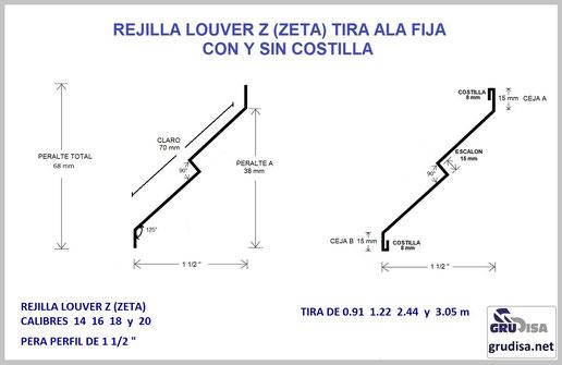 "REJILLA LOUVER (TIRA) Z ""ZETA"" PARA PERFIL DE 1 1/2"""
