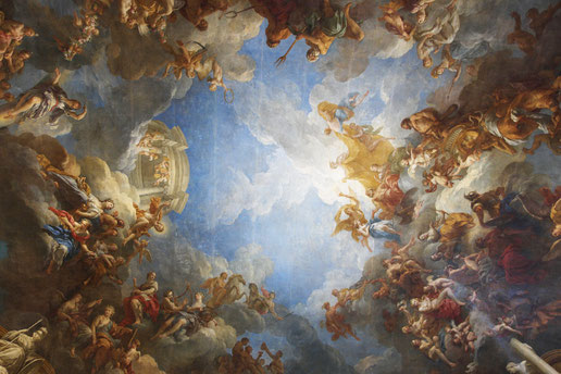 Mathieu Guillochon, photographe, Versailles, château de Versailles, art, architecture, palais, peinture, reflets, couleurs, lumières, reportage, fresque, plafond, ancien régime, Louis XIV, grilles, ors