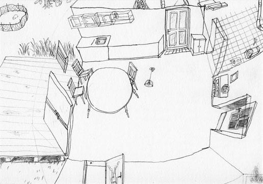 Kittendorf . 2014 . Bleistift auf Papier . 50 x 75 cm . Gemeinschaftsarbeit mit Johanne Ritter . Detail