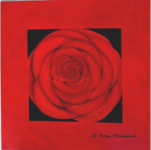 Acrylbild, blume, rose, rot, blumenbild, rosenbild, kunst, bild, malen