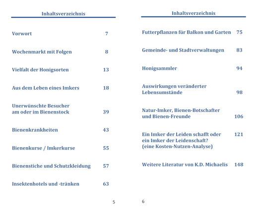 Inhaltsverzeichnis eBook/Buch/Hörbuch: Bienen unterstützen / Bienen halten - Ein Plädoyer für Bienen und heimische Imker von K.D. Michaelis