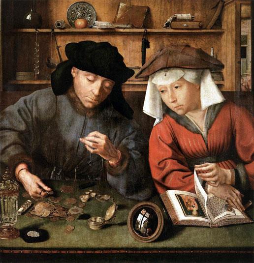 """Quentin Metsys, """"Il cambiavalute e sua moglie"""" (1514)"""