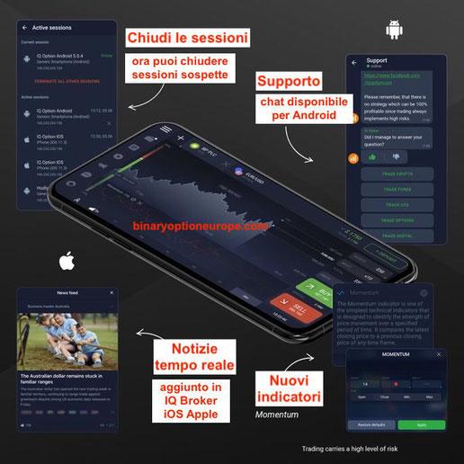 iq broker app mobile nuova piattaforma cfd forex criptovalute apple android