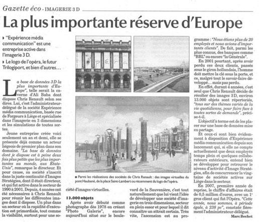 Expérience Image / Base de données 3D /  Gazette de Liège Libre Belgique