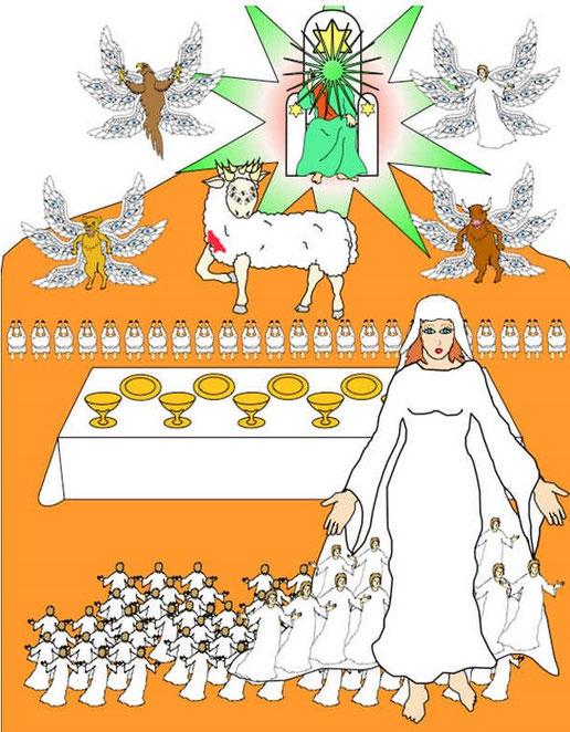 L'évènement le plus important de l'univers, l'instauration du Royaume de Dieu, est matérialisé par un mariage symbolique, celui de l'Agneau et de son épouse. Alléluia !