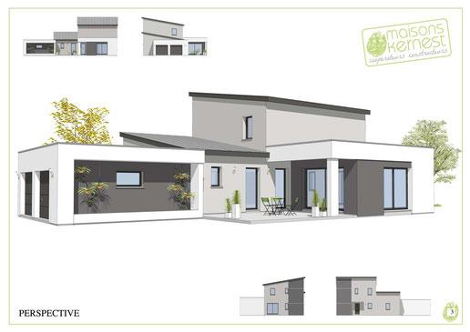 maison moderne à étage avec toits monopentes et dégradé de gris pour l'enduit