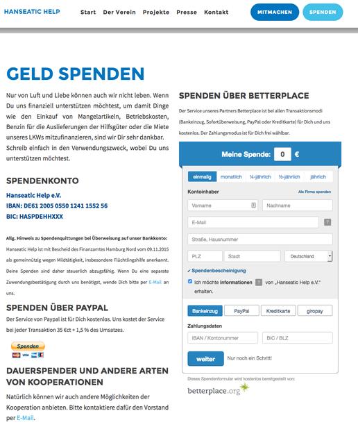 Auf der Jimdo-Seite von Hanseatic Help seht ihr den Spenden-Button von PayPal und das Formular von betterplace.org.