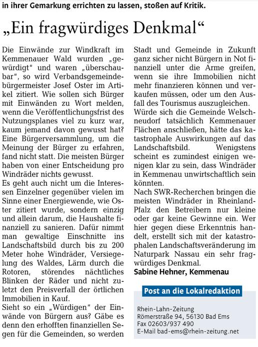 Rhein-Lahn-Zeitung v. 20.04.2015