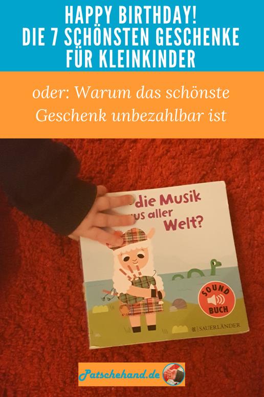 Mama-Blog Patschehand.de stellt Geschenkideen für Kleinkinder vor. Grafik zum Pinnen und Teilen.