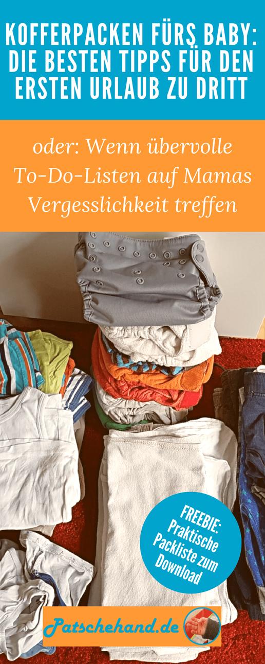Grafik mit Freebie zum Kofferpacken fürs Baby rund um den ersten Urlaub an der Ostsee auf Mama-Blog Patschehand.de