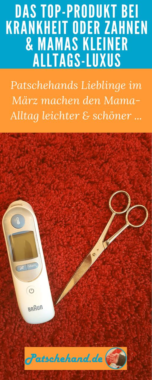 """Pinterest-Grafik zu Erfahrungen mit """"Thermoscan""""-Fieberthermometer & Wohlfühltipp für Mamas."""