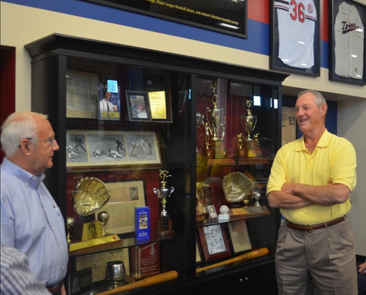 Jim Kaat, right, talks with Jack DeWitt at SportsQuest on Tuesday. Kaat donated some of his baseball memorabilia to the facility.Dan D'Addona/Sentinel staff