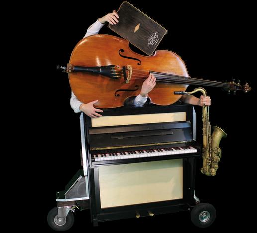 Die Instrumente der mobilen Band – mobiles Klavier, Kontrabass, Saxofon, Cajon