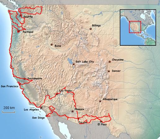 Übersichtskarte von USA-West