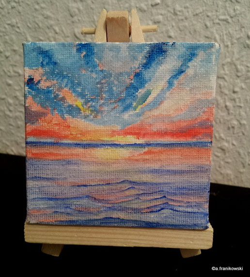 Meer gemalt mit Acrylfarben in Aquarell Technik