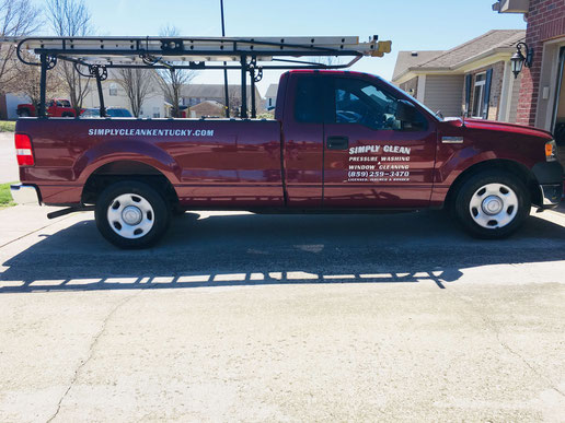 Simply clean pressure washing & window cleaning company truck.