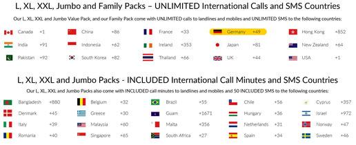 Unbegrenzte Anrufe und SMS in 15 Länder, darunter Deutschland