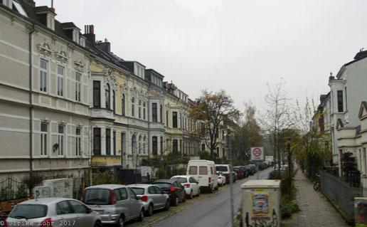 Straßenzug mit Bremer Häusern