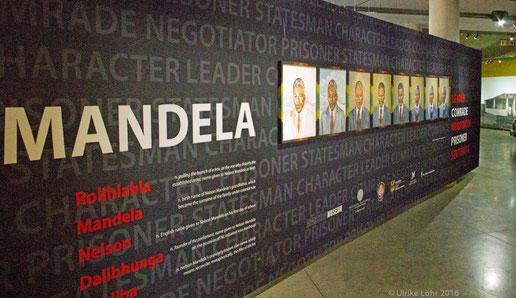 Mandela nimmt im  Apartheid Museum in Johannesburg breiten Raum ein