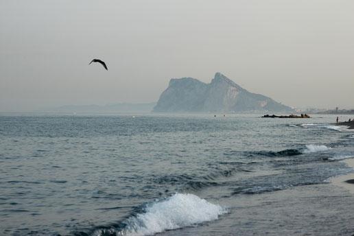 The beautiful Rock of Gibraltar at Alcaidesa Beach