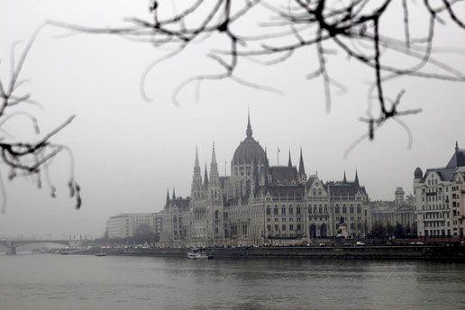 The Parliament of Budapest at the Danube in the winter, travel Budapest, Eastern Europe Rail Trip