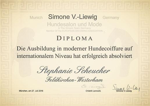 Ausbildung Hundefriseur, Diplom, Stephanie Scheucher, Feldkirchen-Westerham
