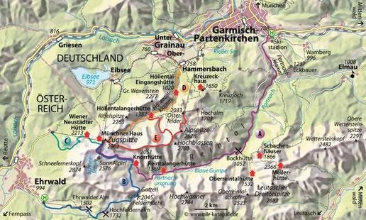 Übersichtskarte Routen auf die Zugspitze