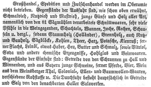 Aus dem Bericht des Oberamts Gaildorf 1852: Bäuerliche Erzeugnisse